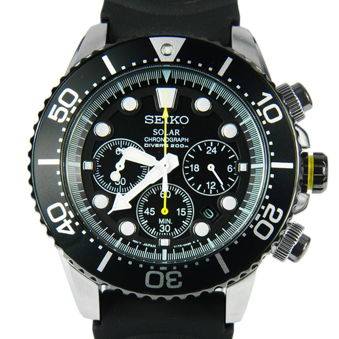 seiko ssc021 ssc021p solar black chronograph divers rubber. Black Bedroom Furniture Sets. Home Design Ideas
