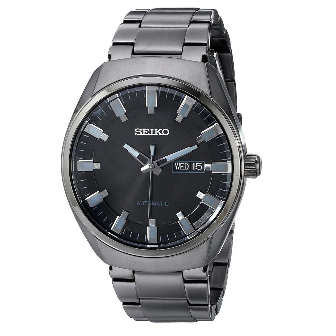 Seiko Snkn43k1 Snkn43 7s26 Analog Black Ion Stainless Steel Automatic Mens Watch
