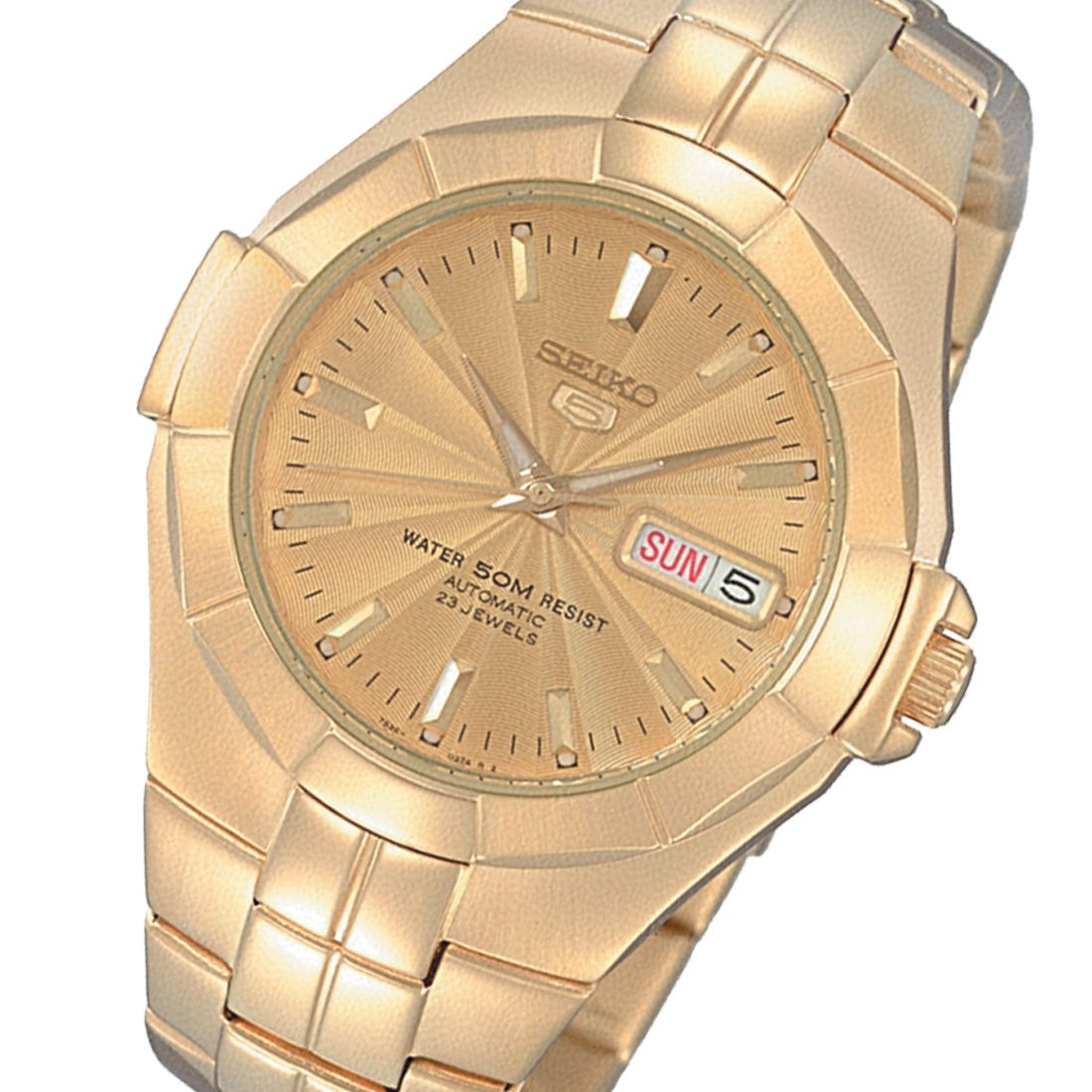 SEIKO SNZE32 SNZE32K 7S36 Hardlex Crystal Gold Plated Automatic Mens Watch
