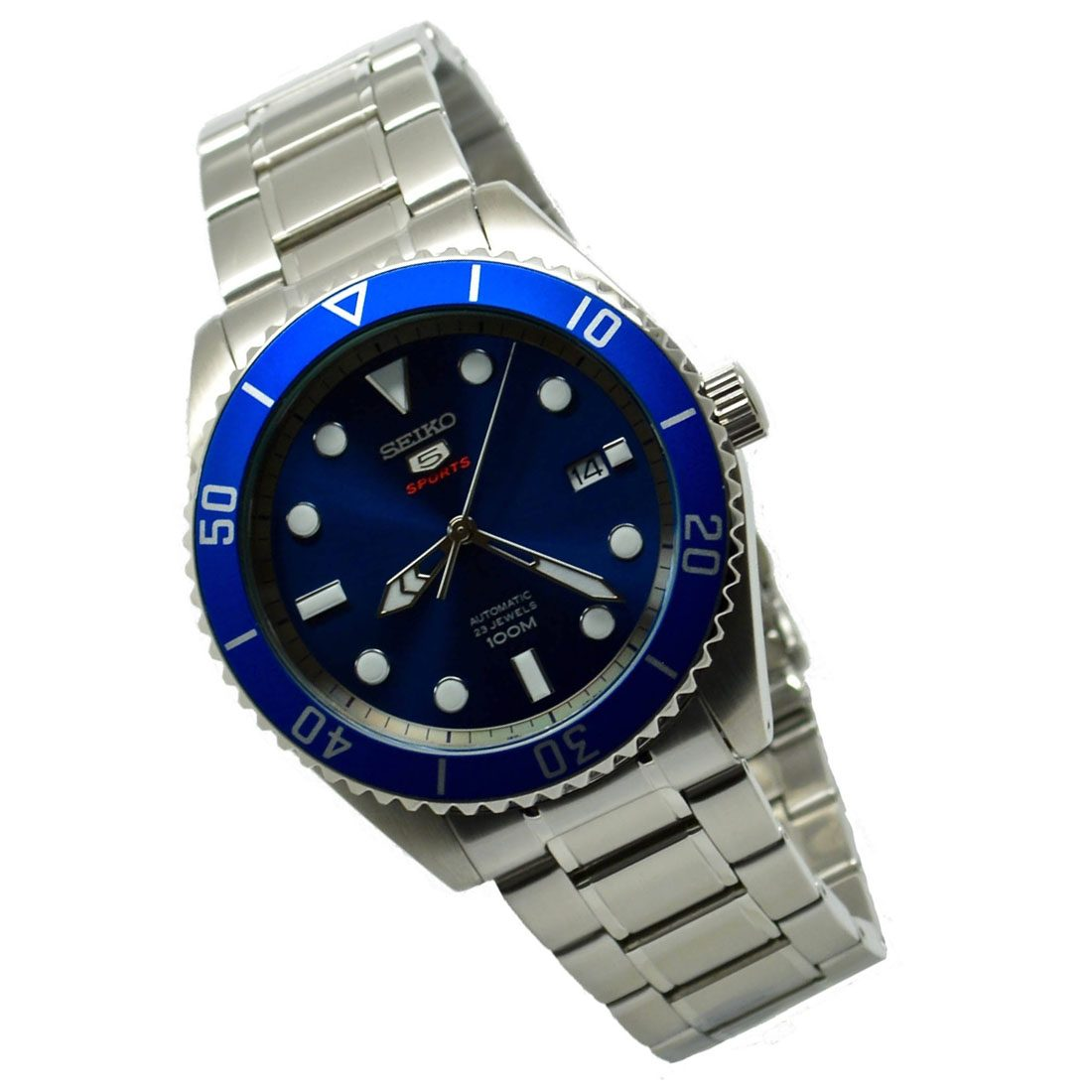 ac5a2f4f6 SEIKO 5 Sports SRPB89 Automatic Blue Dial Stainless Steel Mens Watch ...
