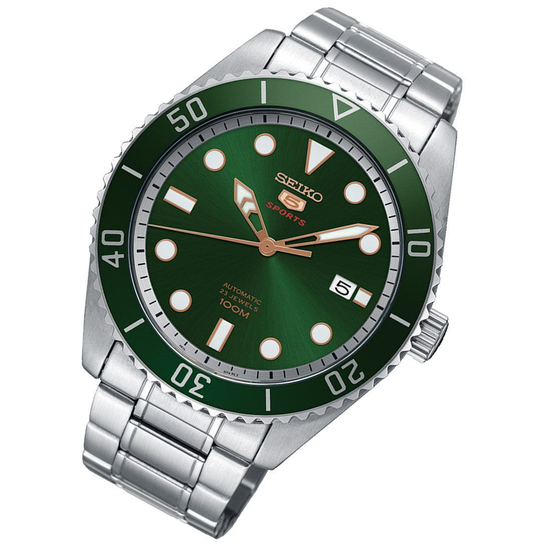 SEIKO 5 Sports SRPB93 Automatic Green Dial Rubber Mens ...