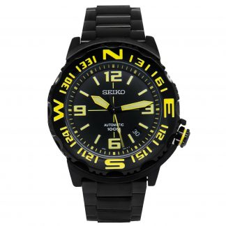 new arrival 2d3ec 25447 SEIKO Superior Automatic SRP449K1 Black Ion-plated Yellow Marker Mens Watch